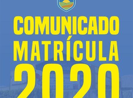 Comunicado Matrícula 2020